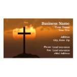 Crucifix on a Hill Against Beautiful Sunset Business Card Templates