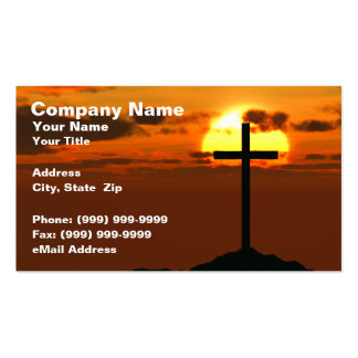 Crucifix on a Hill Against Beautiful Sunset Business Card Template