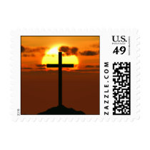 Crucifix on a Hill Against Beautiful Sunset Postage