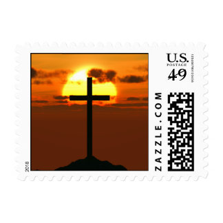 Crucifix on a Hill Against Beautiful Sunset Postage Stamp