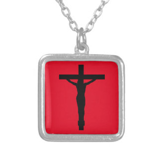 Crucifix Silhouette on Red Necklace