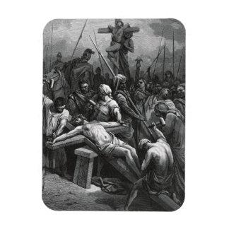 Crucifixión 1866 de Jesús del grabado de Gustavo D Iman Flexible