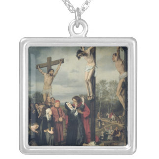 Crucifixion, 1873 silver plated necklace