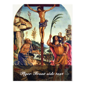 Crucifixión con el Sts. Jerome y Christopher Tarjetones