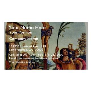 Crucifixión con el Sts. Jerome y Christopher Tarjetas De Visita