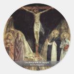 Crucifixión con St Dominic por Fra Angelico Etiquetas Redondas