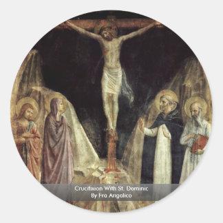 Crucifixión con St Dominic por Fra Angelico Pegatina Redonda
