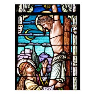 Crucifixión de Jesús - vitral Postales