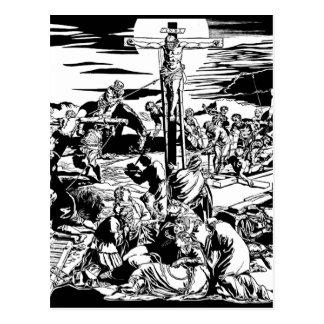 Crucifixión de la postal del arte del vintage del