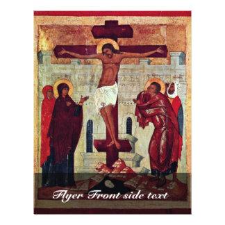 Crucifixión de Meister Der Schule Von Nowgorod (se Tarjetón
