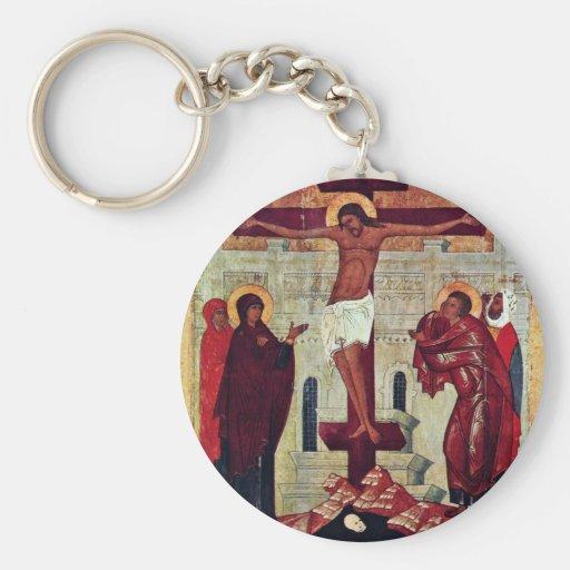 Crucifixión de Meister Der Schule Von Nowgorod (se Llavero Personalizado