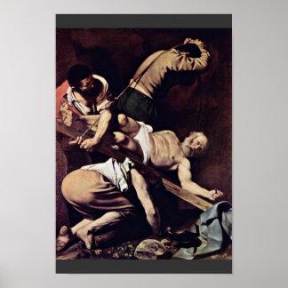 Crucifixión de San Pedro de Miguel Ángel Merisi DA Póster