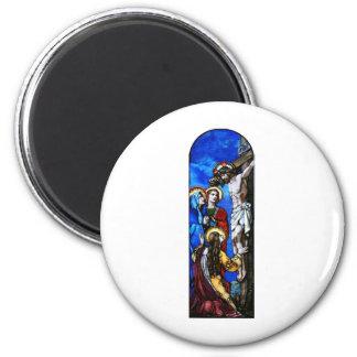 Crucifixión del arte del vitral del Jesucristo Imán Redondo 5 Cm