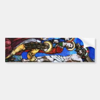 Crucifixión del arte del vitral del Jesucristo Pegatina Para Auto