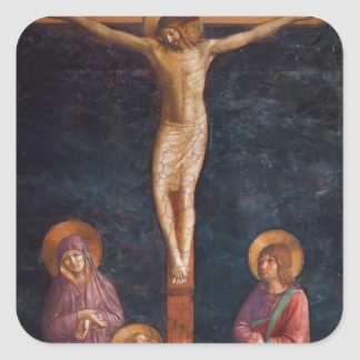 Crucifixión del Fra Angelico- con St Dominic Pegatina Cuadradas