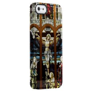 Crucifixión del vitral de Jesús Funda Clearly™ Deflector Para iPhone 5 De Uncommon