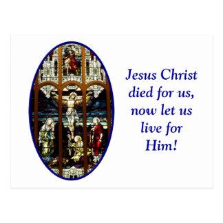 Crucifixión del vitral de Jesús Postales