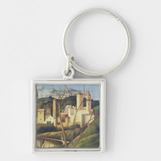 Crucifixion (detail of the background landscape sh Silver-Colored square keychain