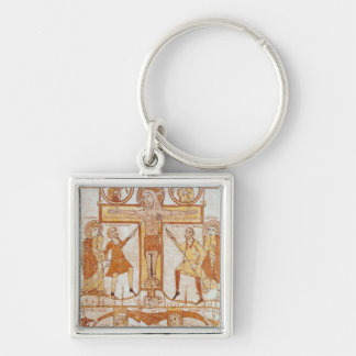 Crucifixion & Division of  Clothes of the Silver-Colored Square Keychain