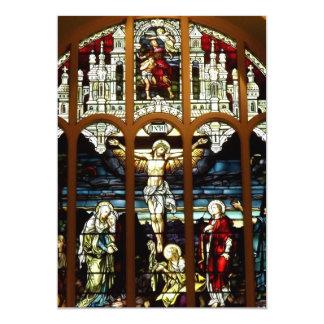 """Crucifixión - Jesús en la cruz - vitral Invitación 5"""" X 7"""""""