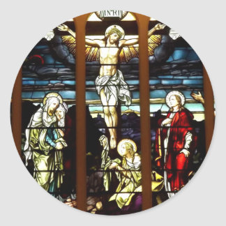 Crucifixion - Jesus on The Cross (Stained Glass) Classic Round Sticker