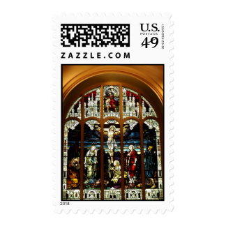 Crucifixion - Jesus on The Cross - Stained Glass Stamp