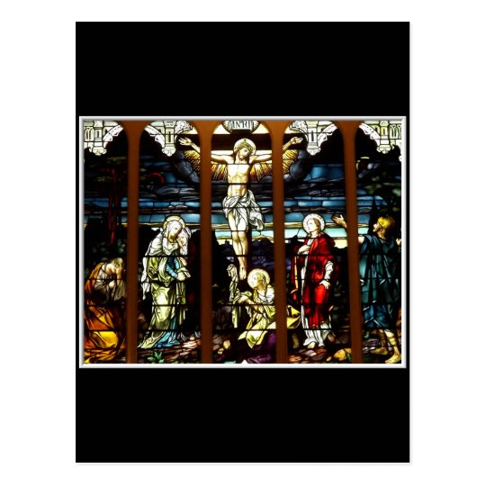 Crucifixion - Jesus on The Cross (Stained Glass) Postcard
