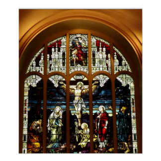 Crucifixion - Jesus on The Cross - Stained Glass Poster