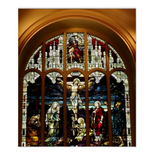 Crucifixion - Jesus on The Cross - Stained Glass Print