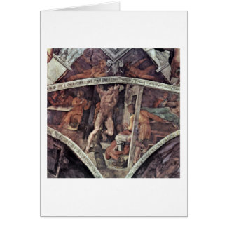 Crucifixion Of Hamaan By Michelangelo Buonarroti Greeting Card