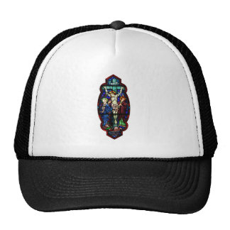 Crucifixion of Jesus Christ Stained Glass Art Trucker Hat