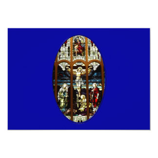 Crucifixion of Jesus stained glass window Card