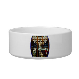 Crucifixion of Jesus stained glass window Cat Water Bowl