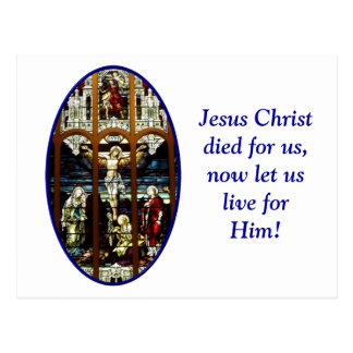 Crucifixion of Jesus stained glass window Post Card