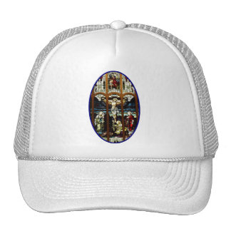 Crucifixion of Jesus stained glass window Trucker Hat