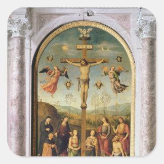 Crucifixión Calcomanía Cuadrada