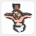 Crucifixión Pegatina Cuadrada
