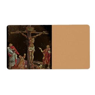 Crucifixion Saints at Jesus Feet Label