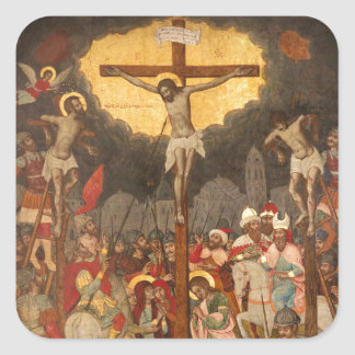 Crucifixion  Scene 1711 Square Sticker