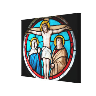 Crucifixion Stained Glass Window Canvas Print