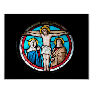 Crucifixion Stained Glass Window Poster