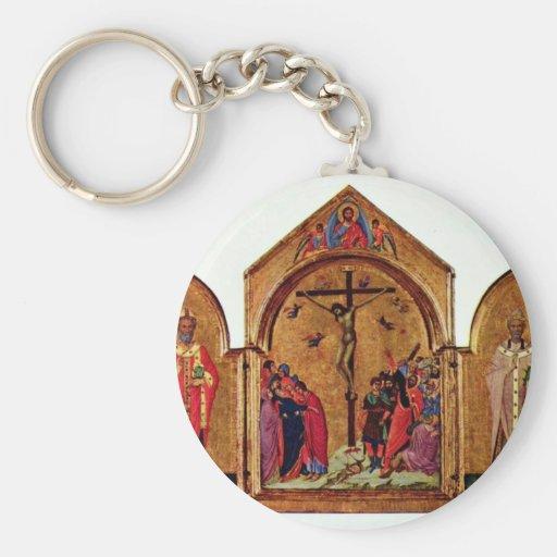 Crucifixion Triptych Left: St. Nicholas Basic Round Button Keychain