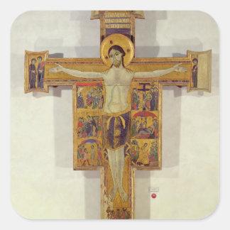 Crucifixion, Tuscan School, second half of 12th ce Square Sticker