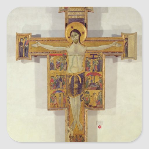 Crucifixion, Tuscan School, second half of 12th ce Square Stickers