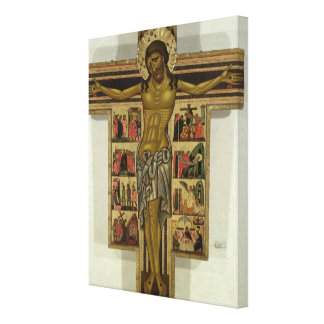 Crucifixion with Stories of the Passion, School of Canvas Print