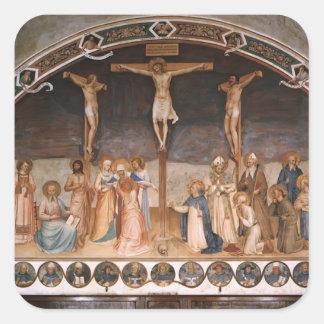 Crucifixión y santos del Fra Angelico- Calcomanía Cuadradas Personalizadas