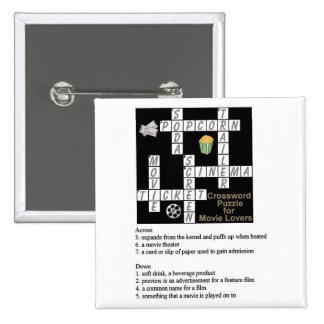 Crucigrama para el botón de los amantes de la pelí pin cuadrado