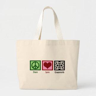 Crucigramas del amor de la paz bolsas lienzo