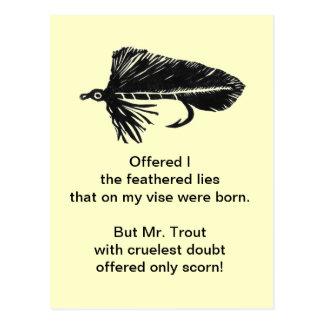 Cruel Trout Postcard Black Matuka