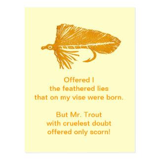 """""""Cruel Trout"""" Postcard """"Gold Matuka"""""""